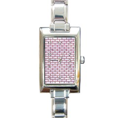 Brick1 White Marble & Red Leather (r) Rectangle Italian Charm Watch by trendistuff