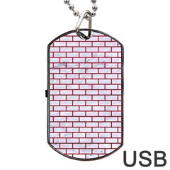 Brick1 White Marble & Red Leather (r) Dog Tag Usb Flash (two Sides) by trendistuff