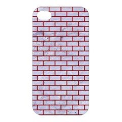 Brick1 White Marble & Red Leather (r) Apple Iphone 4/4s Hardshell Case by trendistuff