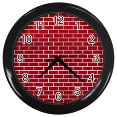 Brick1 White Marble & Red Leather Wall Clocks (black) by trendistuff