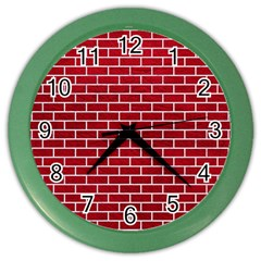 Brick1 White Marble & Red Leather Color Wall Clocks by trendistuff