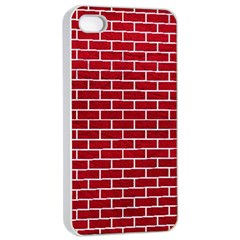 Brick1 White Marble & Red Leather Apple Iphone 4/4s Seamless Case (white) by trendistuff