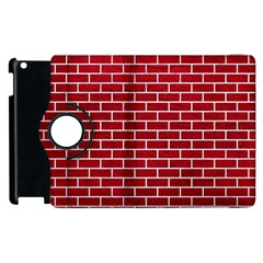 Brick1 White Marble & Red Leather Apple Ipad 2 Flip 360 Case by trendistuff