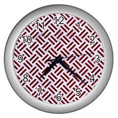 Woven2 White Marble & Red Grunge (r) Wall Clocks (silver)  by trendistuff
