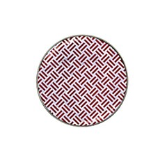 Woven2 White Marble & Red Grunge (r) Hat Clip Ball Marker (10 Pack) by trendistuff