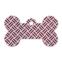 Woven2 White Marble & Red Grunge (r) Dog Tag Bone (one Side) by trendistuff