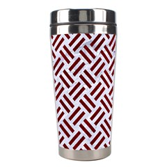 Woven2 White Marble & Red Grunge (r) Stainless Steel Travel Tumblers by trendistuff