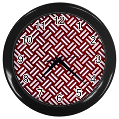 Woven2 White Marble & Red Grunge Wall Clocks (black) by trendistuff