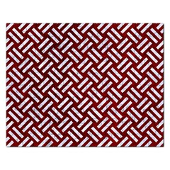Woven2 White Marble & Red Grunge Rectangular Jigsaw Puzzl by trendistuff