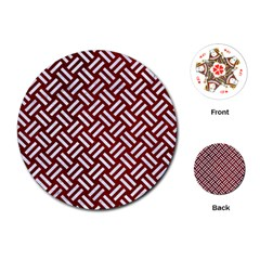 Woven2 White Marble & Red Grunge Playing Cards (round)  by trendistuff