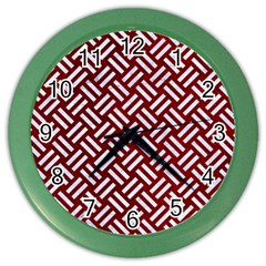 Woven2 White Marble & Red Grunge Color Wall Clocks by trendistuff