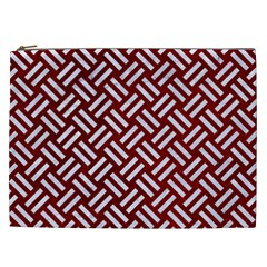 Woven2 White Marble & Red Grunge Cosmetic Bag (xxl)  by trendistuff