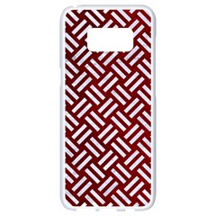 Woven2 White Marble & Red Grunge Samsung Galaxy S8 White Seamless Case by trendistuff