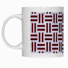 Woven1 White Marble & Red Grunge (r) White Mugs by trendistuff