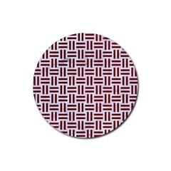 Woven1 White Marble & Red Grunge (r) Rubber Round Coaster (4 Pack)  by trendistuff