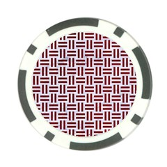 Woven1 White Marble & Red Grunge (r) Poker Chip Card Guard by trendistuff