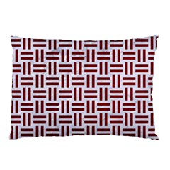 Woven1 White Marble & Red Grunge (r) Pillow Case by trendistuff
