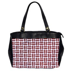 Woven1 White Marble & Red Grunge (r) Office Handbags (2 Sides)  by trendistuff