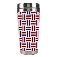 Woven1 White Marble & Red Grunge (r) Stainless Steel Travel Tumblers by trendistuff
