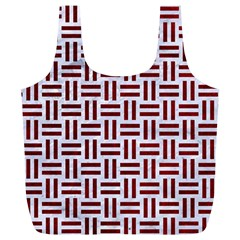 Woven1 White Marble & Red Grunge (r) Full Print Recycle Bags (l)  by trendistuff
