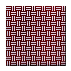 Woven1 White Marble & Red Grunge Tile Coasters by trendistuff