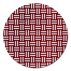 Woven1 White Marble & Red Grunge Magnet 5  (round) by trendistuff