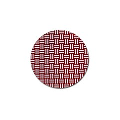 Woven1 White Marble & Red Grunge Golf Ball Marker by trendistuff