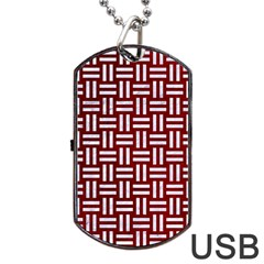 Woven1 White Marble & Red Grunge Dog Tag Usb Flash (one Side) by trendistuff