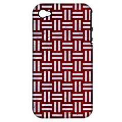 Woven1 White Marble & Red Grunge Apple Iphone 4/4s Hardshell Case (pc+silicone) by trendistuff