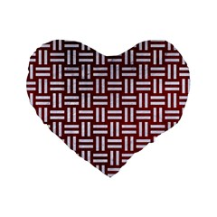 Woven1 White Marble & Red Grunge Standard 16  Premium Heart Shape Cushions by trendistuff