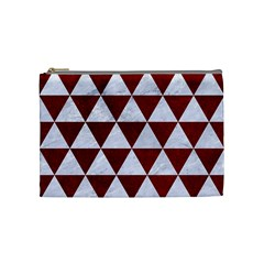 Triangle3 White Marble & Red Grunge Cosmetic Bag (medium)  by trendistuff