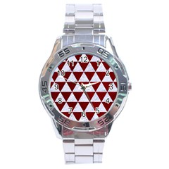 Triangle3 White Marble & Red Grunge Stainless Steel Analogue Watch by trendistuff
