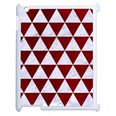 Triangle3 White Marble & Red Grunge Apple Ipad 2 Case (white) by trendistuff