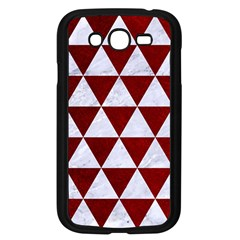 Triangle3 White Marble & Red Grunge Samsung Galaxy Grand Duos I9082 Case (black) by trendistuff