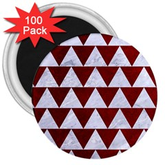 Triangle2 White Marble & Red Grunge 3  Magnets (100 Pack) by trendistuff