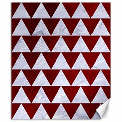 Triangle2 White Marble & Red Grunge Canvas 20  X 24   by trendistuff