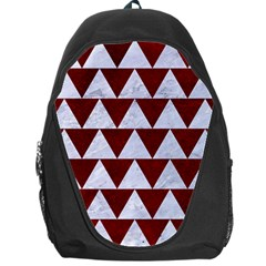 Triangle2 White Marble & Red Grunge Backpack Bag by trendistuff