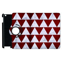 Triangle2 White Marble & Red Grunge Apple Ipad 3/4 Flip 360 Case by trendistuff
