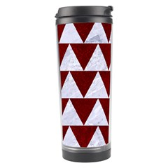 Triangle2 White Marble & Red Grunge Travel Tumbler by trendistuff