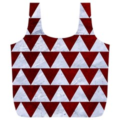 Triangle2 White Marble & Red Grunge Full Print Recycle Bags (l)  by trendistuff