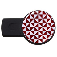 Triangle1 White Marble & Red Grunge Usb Flash Drive Round (2 Gb) by trendistuff