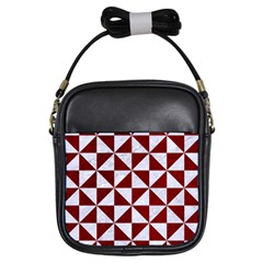 Triangle1 White Marble & Red Grunge Girls Sling Bags by trendistuff