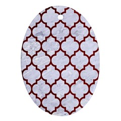 Tile1 White Marble & Red Grunge (r) Oval Ornament (two Sides)