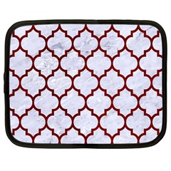 Tile1 White Marble & Red Grunge (r) Netbook Case (large) by trendistuff