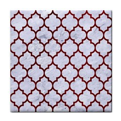 Tile1 White Marble & Red Grunge (r) Face Towel by trendistuff