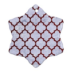 Tile1 White Marble & Red Grunge (r) Ornament (snowflake) by trendistuff