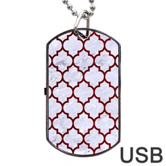 Tile1 White Marble & Red Grunge (r) Dog Tag Usb Flash (two Sides) by trendistuff