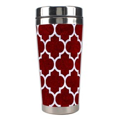 Tile1 White Marble & Red Grunge Stainless Steel Travel Tumblers by trendistuff