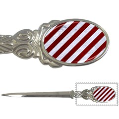 Stripes3 White Marble & Red Grunge (r) Letter Openers