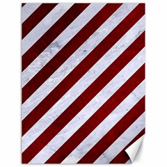 Stripes3 White Marble & Red Grunge (r) Canvas 18  X 24   by trendistuff